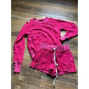 PHILANTHROPY Pink Sweatshirt and Sweatshort Set XS